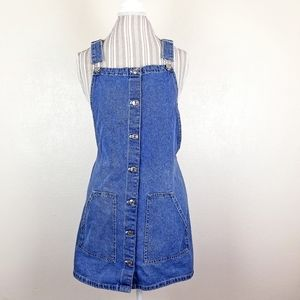 Vintage | 90's Denim Overall Mini Dress